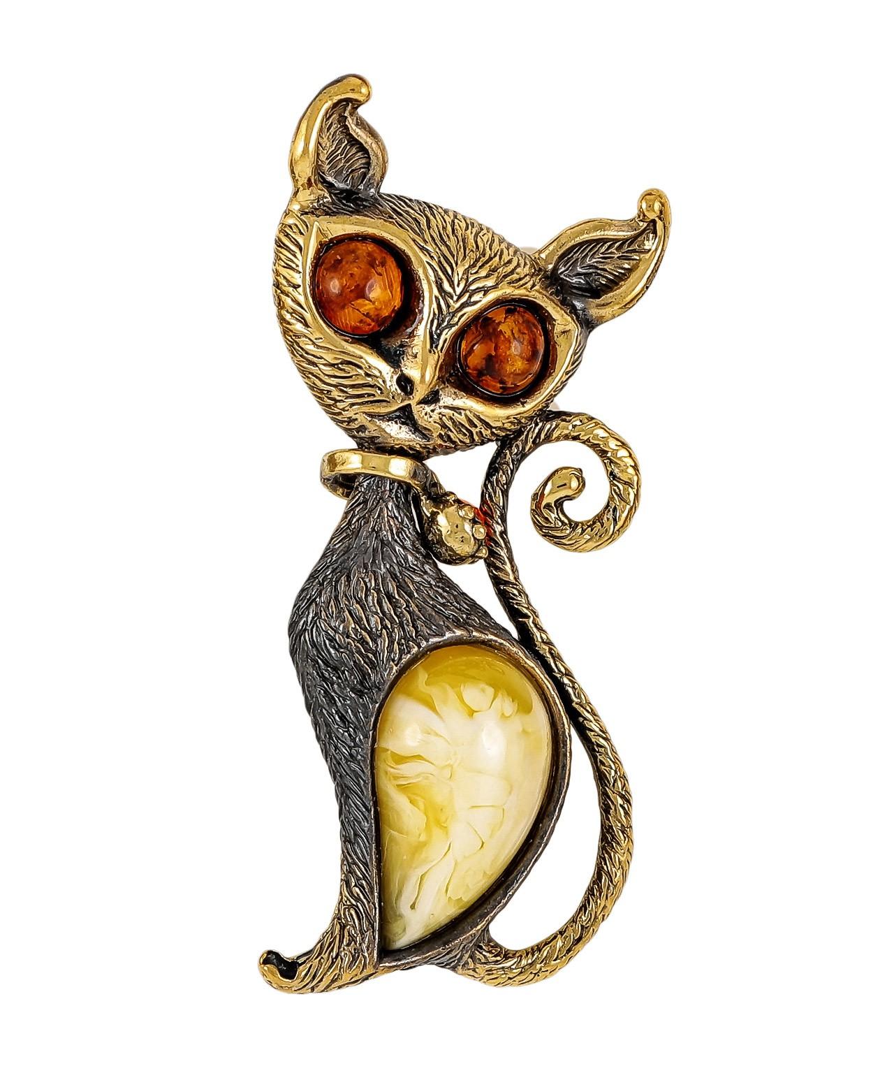 Брошь Кошка с ошейником 1888.4