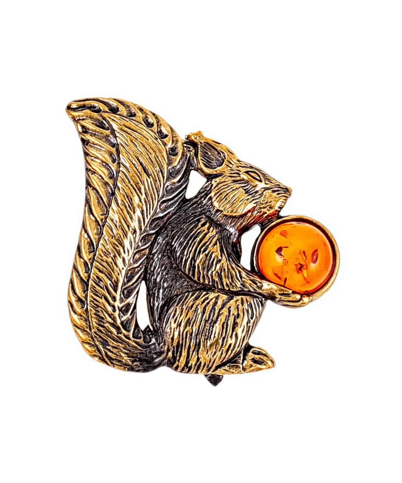 Брошь Белочка с орешками 2131.4