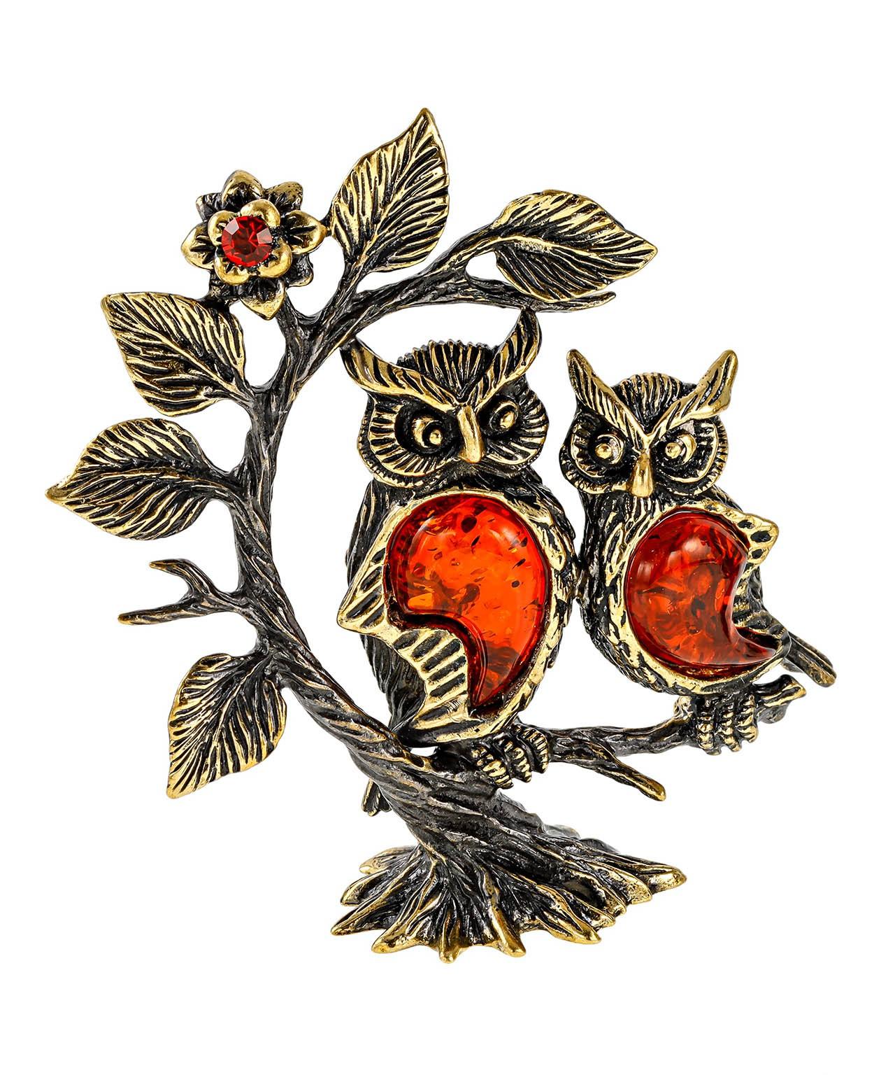 Птицы Совушки подружки на дереве без подставки 2385.1