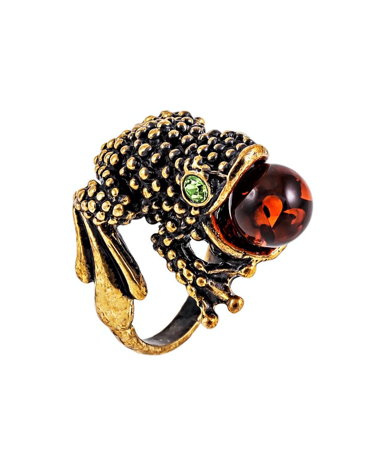 Кольцо Лягушка с шариком 349