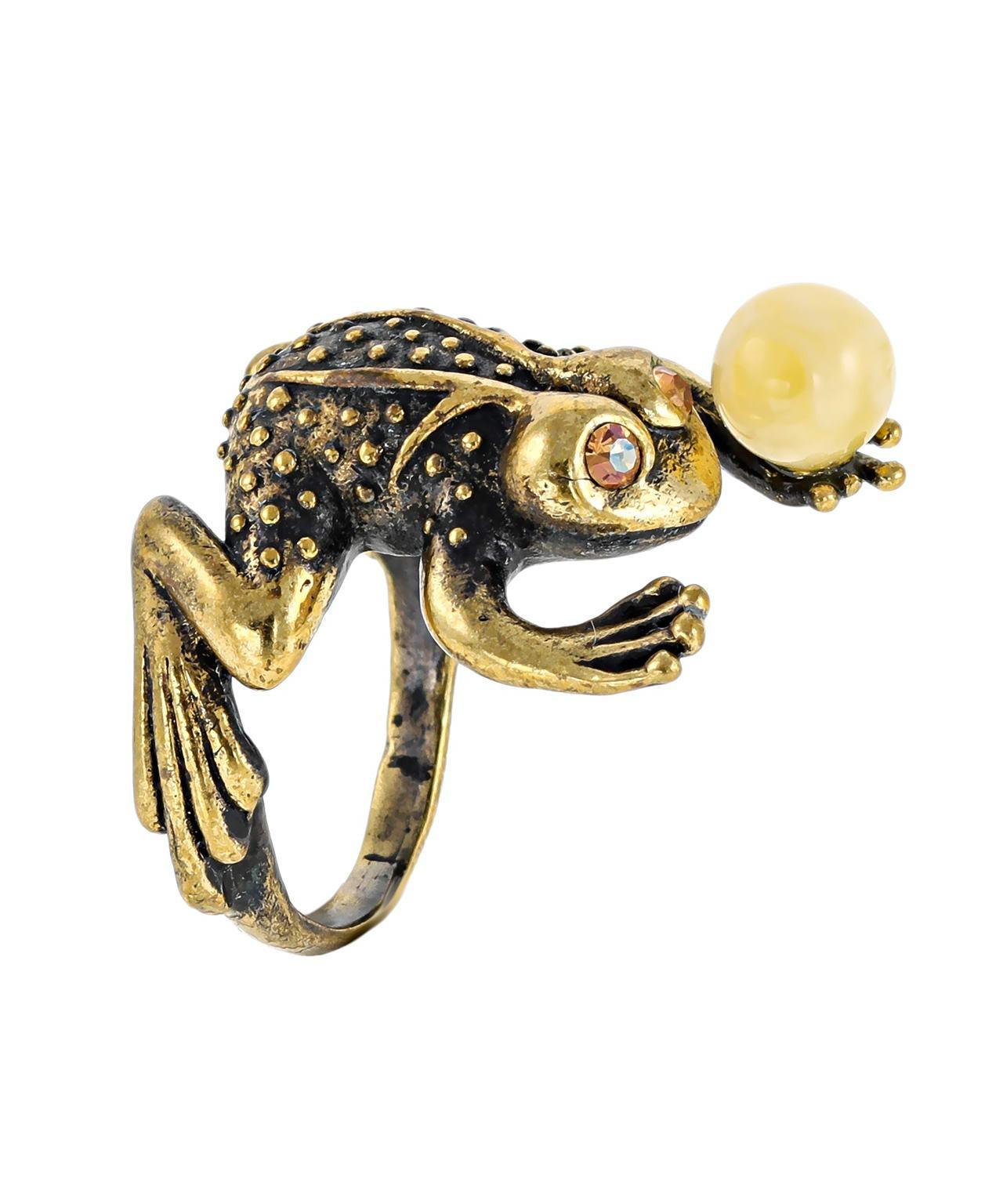 Кольцо Лягушка с шариком в лапке 455