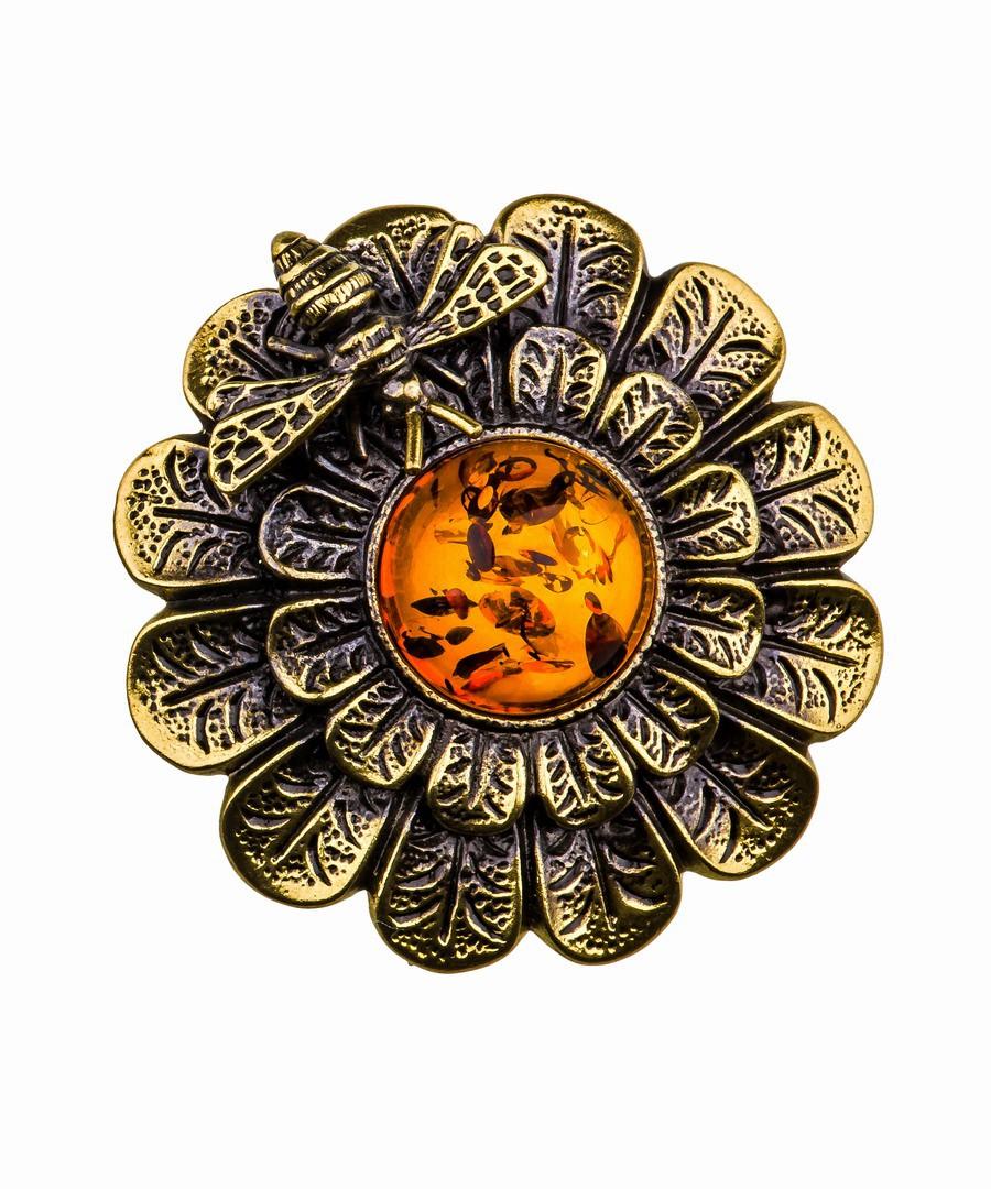 Брошь Хризантема с пчелкой 835.4