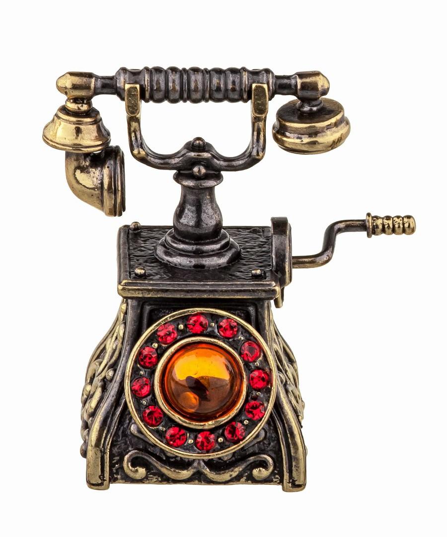 Колокольчик Телефон ретро со стразами 887.1