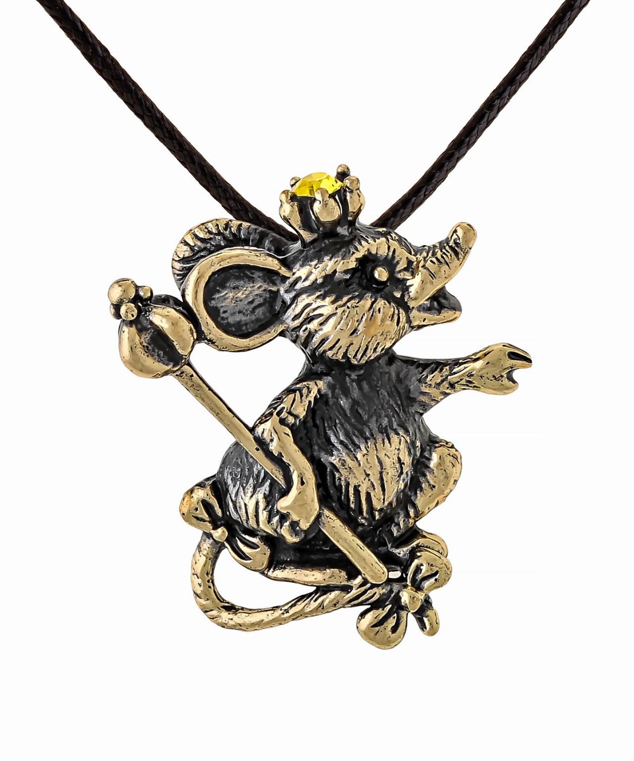 Подвеска Мышь в короне со Скипетром 1550.5