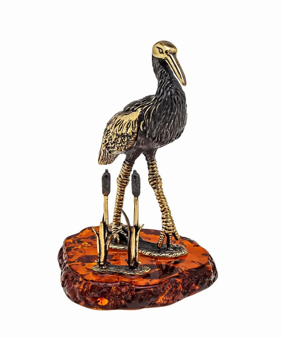 Птица Аист в камышах 1129