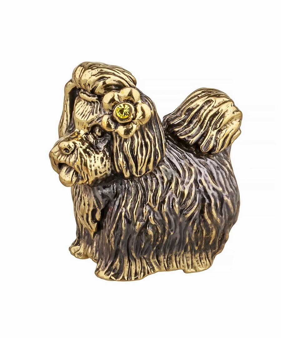 Собака Йорк с цветочком без подставки 824.1